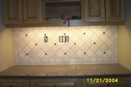 "Tumbled Stone Backsplash. Bottocino 4"" tumbled marble"